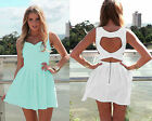 Hollowed Back Womens Summer Sundress Bandage Short Cocktail Party Evening Dress