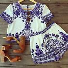 NEW SEXY WOMEN CELEB FLORAL BLOUSE HOT SHORT PANT SUMMER BEACH TWO PIECES