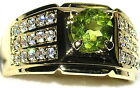 Men's Genuine Peridot & Topaz Ring  August Birthstone    style 9x024