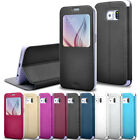 Original Leather Flip Brushed Window View Case Cover For Samsung Galaxy S6 edge