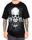 Sullen Clothing Clown Badge Mens T Shirt Black Skull Rose Tattoo Goth Tee