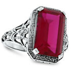 9 CARAT RED LAB RUBY ANTIQUE DECO STYLE .925 STERLING SILVER FILIGREE RING,  #90