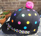 RIDING Hat Silk Skull cap Cover BLACK * MULTI SPOTS & RIBBON With OR w/o Pompom