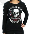 Harley-Davidson Womens Distressed Love 2 Ride Skull Black Long Sleeve T-Shirt
