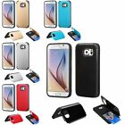 For Samsung Galaxy S6 Hybrid Stand Credit Card Holder Wallet Flip Case Cover