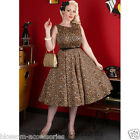RKL10 Lady V London Vintage Hepburn Leopard Pin Up 50s Swing Rockabilly Dress