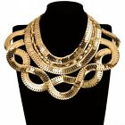 Statement Gold Silver Snake Chain Bib Choker Collar Pendant Fashion Necklace