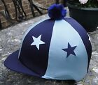 Lycra Riding Hat Silk Skull cap Cover NAVY BABY BLUE * STARS With OR w/o Pompom