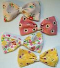 CUTE RILEY BLAKE PINK LEMON WHITE COTTON FABRIC HANDMADE HAIR BOW CLIP E212