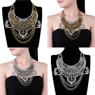 HOT Ethnic Vintage Style Gold Silver Chain Crystal Bib Cluster Pendant Necklace