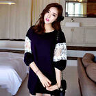 New Fashion Women Lace Splicing Slim Half-sleeved Cotton T-shirt Dress Charming