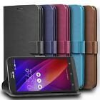 Vintage  Leather Wallet Folio Case Cover w/ Stand Card Slots For Asus ZenFone 2