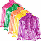 Mens 70s Disco Night Frilly Ruffle Shirt Fancy Dress Party Costume M L XL Wigs
