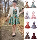 UK FAST~ Vintage 1950s Rockabilly Retro 50s Style strappy dress womens clothes