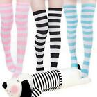 New Striped Thigh High Long Hosiery Over The Knee Dress Socks Stockings DJNG