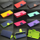 Dual Color Deluxe Wallet Leather Flip TPU Stand Case Cover Skin For HTC Phone