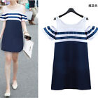 Fashion Ladys Grils Navy Style Off Shoulder Striped Dress Cotton Casual Sundress