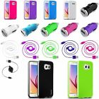 TPU Jelly Rubber Case+Retractable Cord+Car Charger For Samsung Galaxy S6 Edge/S6