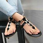 Womens Flat Summer Sandals T-Strap Party Toe Post Ladies Black Flip Flops Shoes
