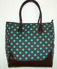 # New Blossom Retro Chocolate Brown W Turquoise Polka Dot Purse Shoulder Bag nwt