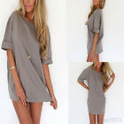 Women Sexy Casual Loose Short Sleeve Tops T-shirt Blouse Mini dress Fashion New