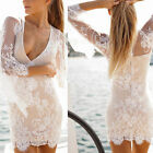 Sexy V Neck Womens Slim Speaker Sleeve See-through Lace Evening Party Mini Dress