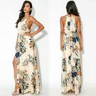 Sexy Women's Maxi Dress Floral Print Side Split Tie Waist Long Cocktail Dress YC