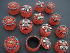 Decorative beaded round vintage trinket box unique Beautiful Jewelry Pill Boxes