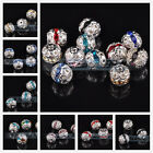30pcs 8mm Silver Plated Crystal Rhinestones Round Metal Loose Spacer Beads