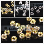 100/500pcs 4mm Czech Crystal Rhinestone Gold Silver Plated Rondelle Spacer Beads
