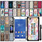 For Sony Xperia Z3 Compact SLIM FIT PATTERN HARD Case Back Phone Cover + Pen