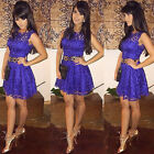 Lace Short Mini Cocktail Dress Party Evening Bridesmaid Sleeveless Prom Dress GK