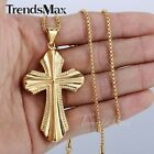 Punk Mens Chain Gold/Silver Tone 316L Stainless Steel Big Cross Pendant Necklace