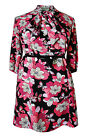 New Ladies Pink Black Pussy Bow Floral Print Dress Plus Size 16 - 26