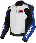 Suzuki GSXR Gixxer GSX-R Leather Riding Jacket Blue & White