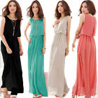 Fashion Women Formal Party Pleated Wave Chiffon Maxi Long Dress Prom Gown Black