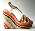 new $290 KATE SPADE Lindsay gold open-toe platforms colorful WEDGES shoes - HOT