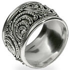 New 925 Sterling Silver Bali Design Black Oxidize 12 mm Wide Band Ring Size 5-10