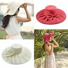 Linen Summer Womens Kentucky Derby Wide Brim Sun Hat Wedding Church Sea Beach