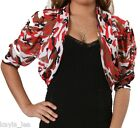 Red/Beige Mesh Camo Short Sleeve Ruched Cropped Bolero/Shrug Cover-Up Plus