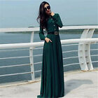 Womens Elegant Bohemia Dark Green Solid Summer Ladies Maxi Dress Beach Wear