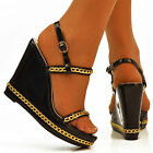 NEW Ladies Black Patent PVC Gold Chain Ankle Straps Platform Shoes Sandals Size