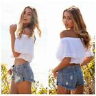 Summer Sexy Boat Neck Off Shoulder Shawls Petal Sleeve Lace Stitching Blouse Top
