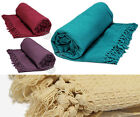 Soft 100% Cotton Honey Comb Throw with Tasselled Edge – Sofa Cover / Bed Blanket