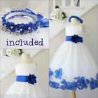 Lovely Ivory/royal blue rose petals flower girl dress FREE HEADPIECE all sizes