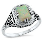 WHITE LAB OPAL ANTIQUE ART DECO DESIGN .925 STERLING SILVER RING,           #697