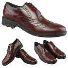 Mens Gents Boys New Oxblood Leather Brogue Smart Formal Suit Wedding Shoes 6-12
