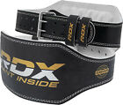 """RDX Weight Lifting 6"""" Leather Belt Powerlifting Back Support Strap Gym Training"""