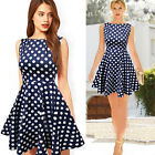 NEW LAIDES VINTAGE RETRO STYLE POLKA DOT DRESS SKATER NAVY