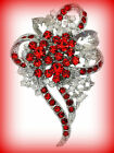 RED CRYSTAL RHINESTONE AWARENESS RIBBON SILVER BROOCH PIN